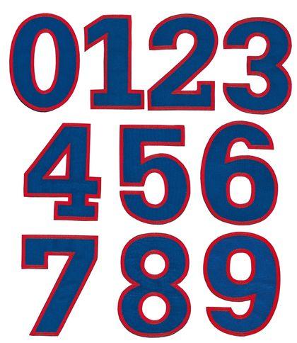 Nažehlovací vyšívaná čísla sada modrá