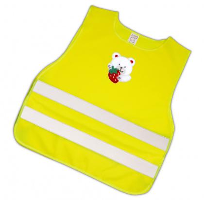 Dětská reflexní vesta s obrázkem - medvídek bílý s jahodou - splňuje EN 1150