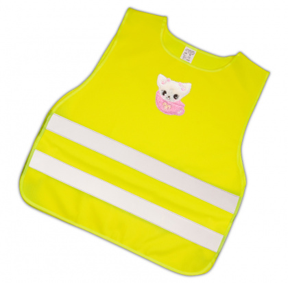 Dětská reflexní vesta s obrázkem kočičky - splňuje EN 1150