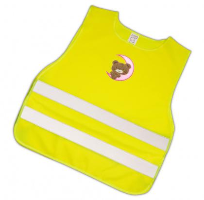Dětská reflexní vesta s obrázkem - růžový měsíc s medvídkem - splňuje EN 1150