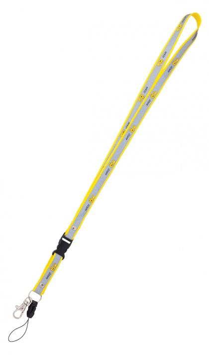 Reflexní klíčenka s potiskem smajlíka  AHOJ - žlutá