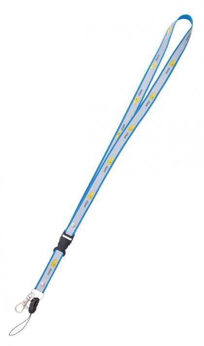 Reflexní klíčenka s potiskem smajlíka  AHOJ  - modrá