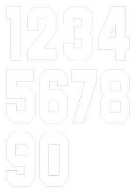 Nažehlovací čísla na dresy, výška 7,5cm, sada bílá