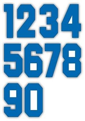 Nažehlovací čísla na dresy, výška 7,5cm, sada modrá