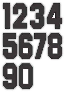 Nažehlovací čísla na dresy, výška 7,5cm, sada černá
