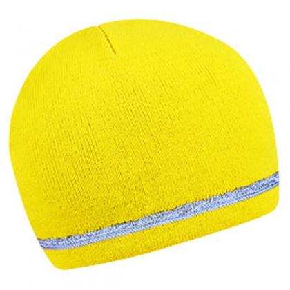 Zimní dvouvrstvá čepice s reflexním okrajem ŽLUTÁ