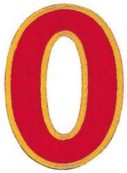 Nažehlovací vyšívaná čísla - nula červená, výška 8cm