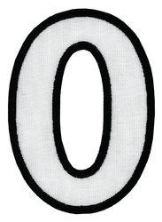 Nažehlovací vyšívaná čísla - nula bílá, výška 8cm
