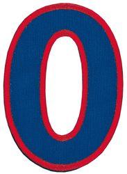 Nažehlovací vyšívaná čísla - nula modrá, výška 8cm