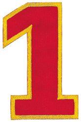 Nažehlovací vyšívaná čísla  - jednička červená, výška 8cm
