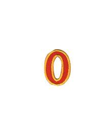 Nažehlovací vyšívaná čísla  - nula červená, výška 3cm