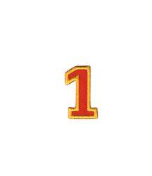 Nažehlovací vyšívaná čísla  - jednička červená, výška 3cm