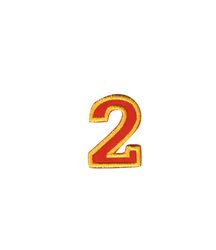 Nažehlovací vyšívaná čísla  - dvojka červená, výška 3cm