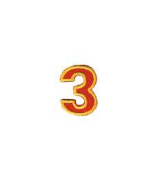 Nažehlovací vyšívaná čísla  - trojka červená, výška 3cm