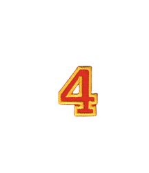 Nažehlovací vyšívaná čísla  - čtyřka červená, výška 3cm