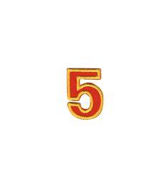 Nažehlovací vyšívaná čísla  - pětka červená, výška 3cm
