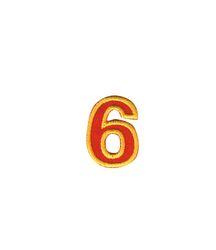Nažehlovací vyšívaná čísla  - šestka červená, výška 3cm