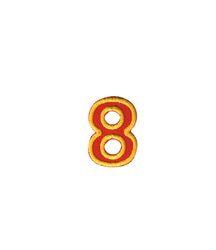 Nažehlovací vyšívaná čísla  - osmička červená, výška 3cm