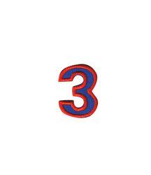 Nažehlovací vyšívaná čísla  - trojka modrá, výška 3cm