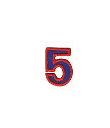 Nažehlovací vyšívaná čísla  - pětka modrá,výška 3cm