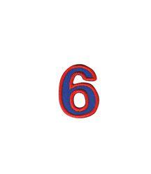 Nažehlovací vyšívaná čísla  - šestka modrá, výška 3cm