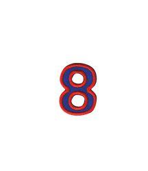 Nažehlovací vyšívaná čísla  - osmička modrá, výška 3cm