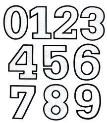 Nažehlovací vyšívaná čísla sada bílá