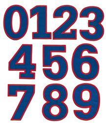Nažehlovací vyšívaná čísla sada - modrá, výška 3cm
