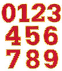 Nažehlovací vyšívaná čísla sada  - červená, výška 3cm