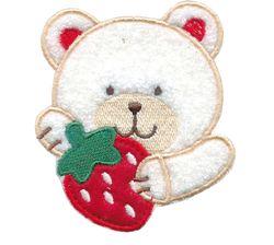 Nažehlovací aplikace velké - medvídek bílý s jahodou