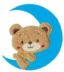 Nažehlovací aplikace velké - modrý měsíc s medvídkem