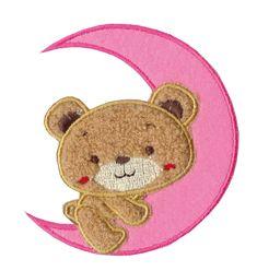 Nažehlovací aplikace velké - růžový měsíc s medvídkem