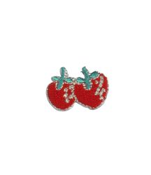 Vyšívané nažehlovací obrázky malé - jahody červené