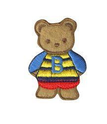 Vyšívané nažehlovací obrázky střední - medvidek hnědo-modrý