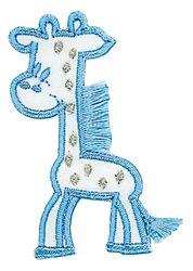 Vyšívané nažehlovací obrázky střední  - žirafa modrá