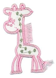 Vyšívané nažehlovací obrázky střední - žirafa růžová