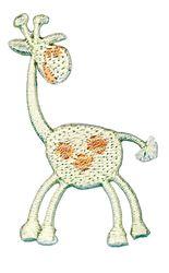 Vyšívané nažehlovací obrázky střední - žirafa bílo - hnědá