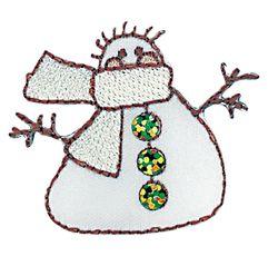 Vyšívané nažehlovací obrázky velké - sněhulák