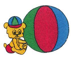 Vyšívané nažehlovací obrázky velké - medvěd a míč