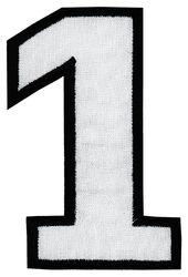 Nažehlovací vyšívaná čísla - jednička bílá, výška 8cm