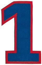 Nažehlovací vyšívaná čísla - jednička modrá, výška 8cm