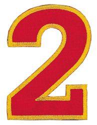 Nažehlovací vyšívaná čísla  - dvojka červená, výška 8cm