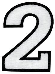 Nažehlovací vyšívaná čísla - dvojka bílá, výška 8cm