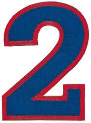 Nažehlovací vyšívaná čísla - dvojka modrá, výška 8cm