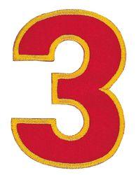 Nažehlovací vyšívaná čísla  - trojka červená, výška 8cm