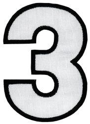 Nažehlovací vyšívaná čísla - trojka bílá, výška 8cm
