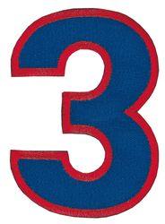Nažehlovací vyšívaná čísla - trojka modrá, výška 8cm