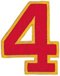 Nažehlovací vyšívaná čísla  - čtyřka červená, výška 8cm