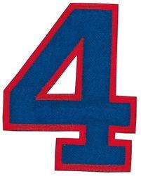 Nažehlovací vyšívaná čísla - čtyřka modrá, výška 8cm