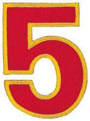 Nažehlovací vyšívaná čísla  - pětka červená, výška 8cm